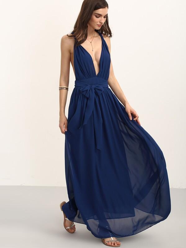 en V sin mangas con cinturón con Vestido marino azul cuello largo H2bWY9DIeE
