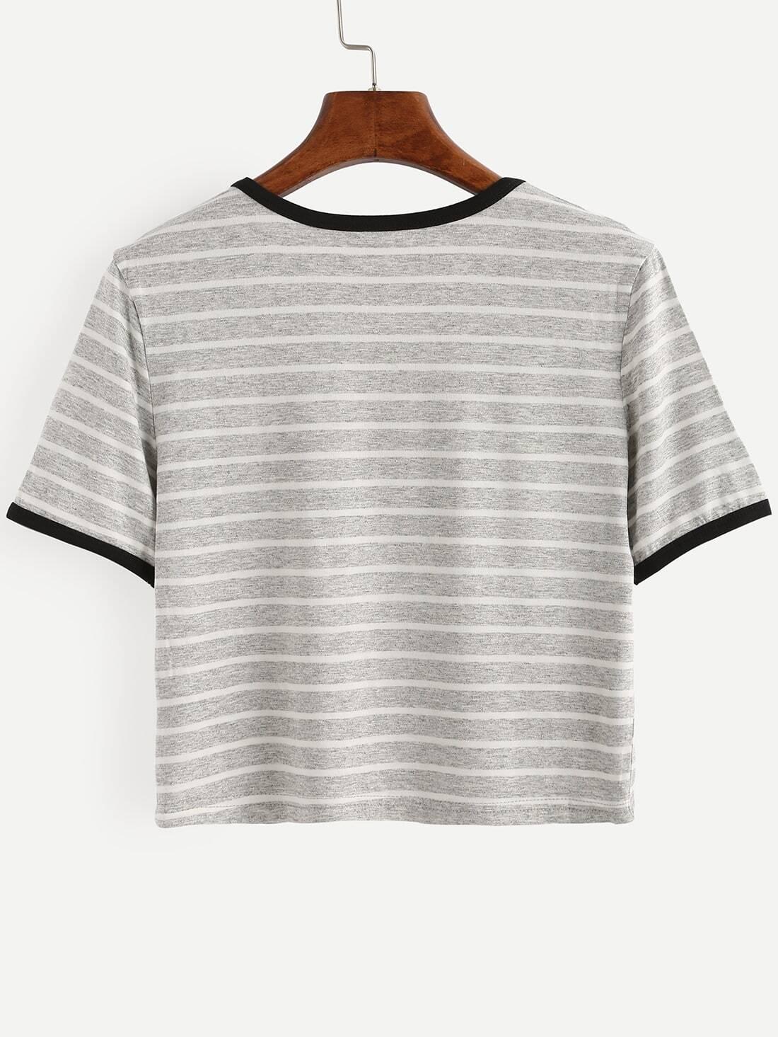 Grey striped short sleeve t shirt shein sheinside Grey striped t shirt