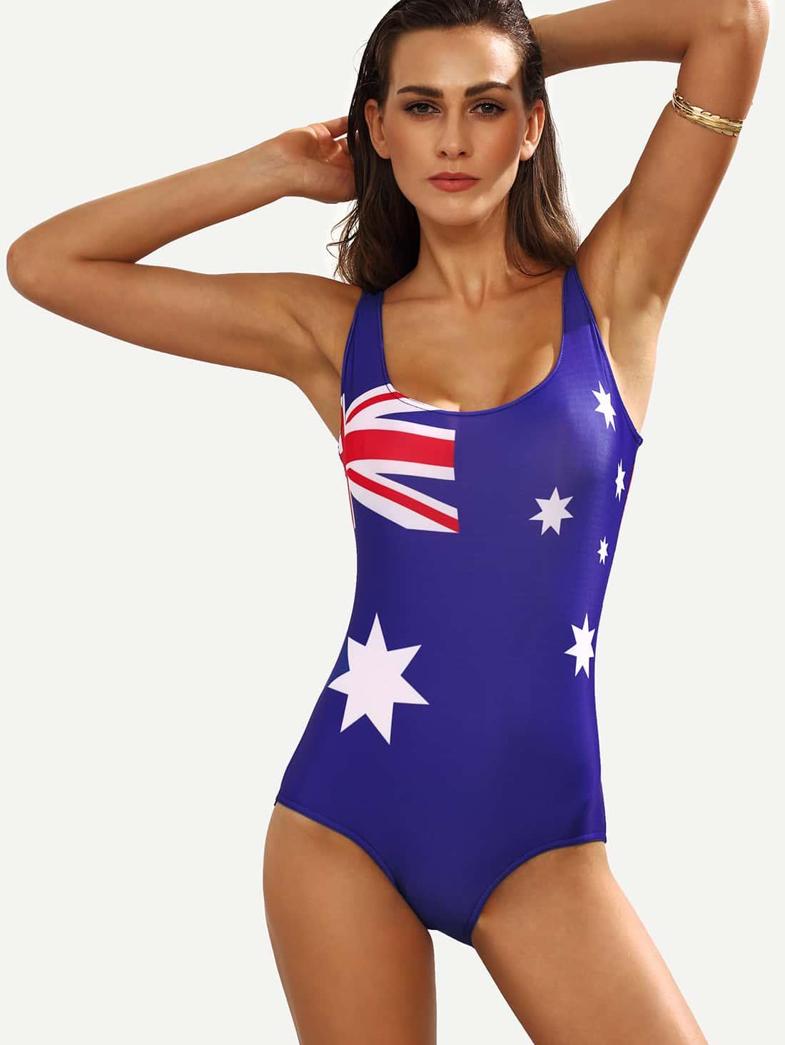 Bañador bandera de Australia una pieza -azul-Spanish SheIn(Sheinside)