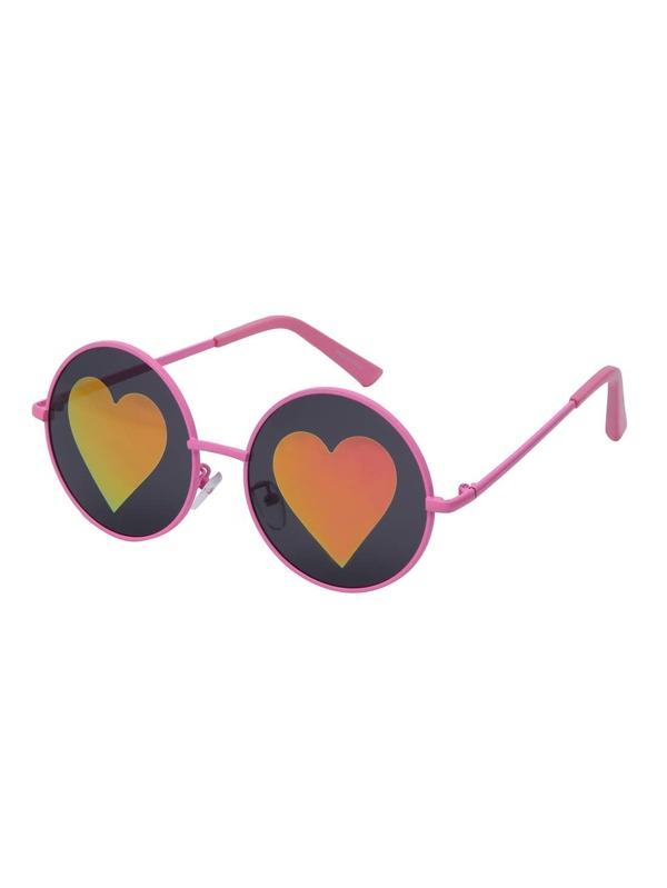 b879ccf195 Gafas de sol lentes forma de corazón montura rosa-Spanish SheIn(Sheinside)