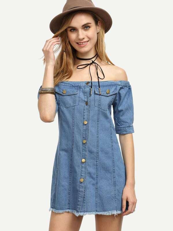 2d3ce70cb91 Blue Off The Shoulder Buttoned Denim Dress