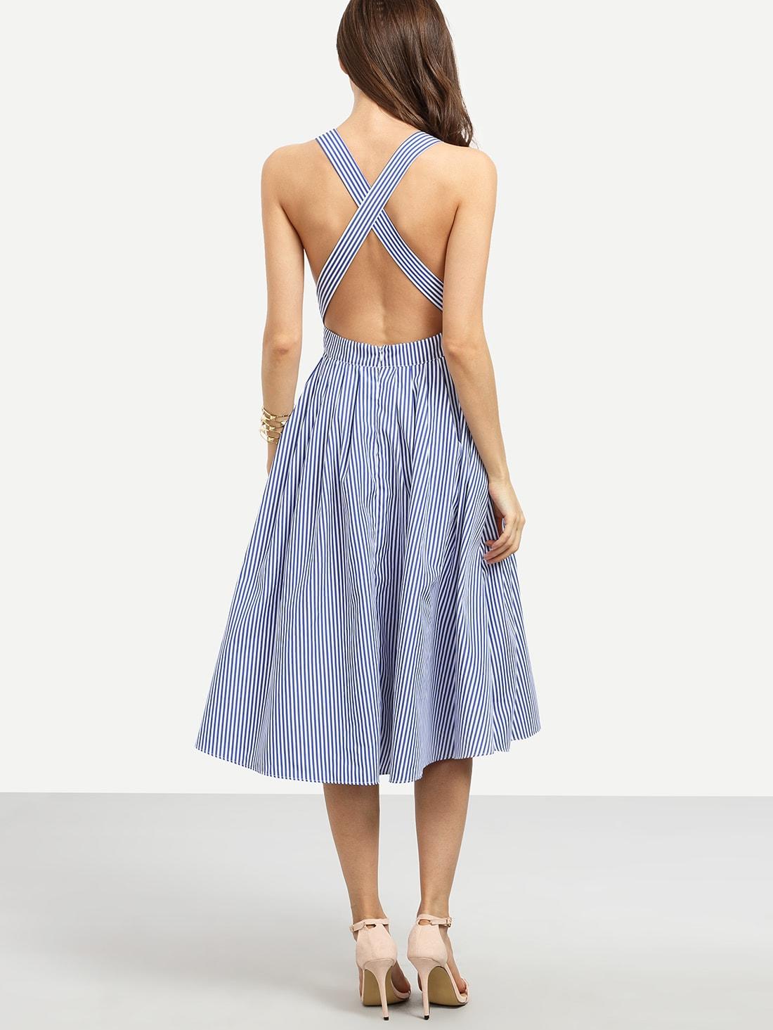 Striped Criss Cross Back Swing Dress Shein Uk