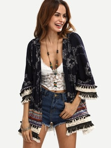 Tribal Print Fringe Pom-pom Decorated Kimono