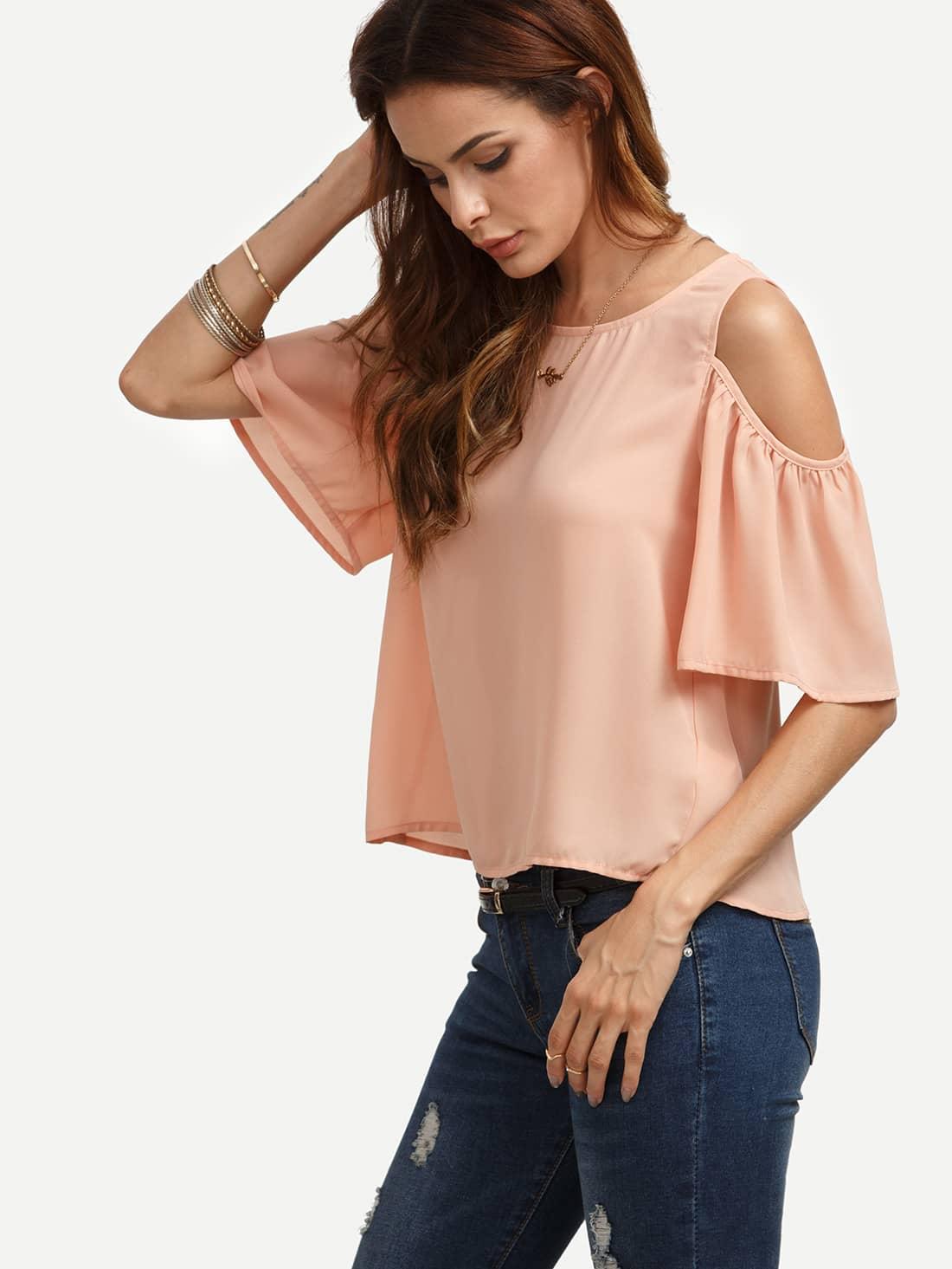 pink cold shoulder cutout blouse shein sheinside. Black Bedroom Furniture Sets. Home Design Ideas