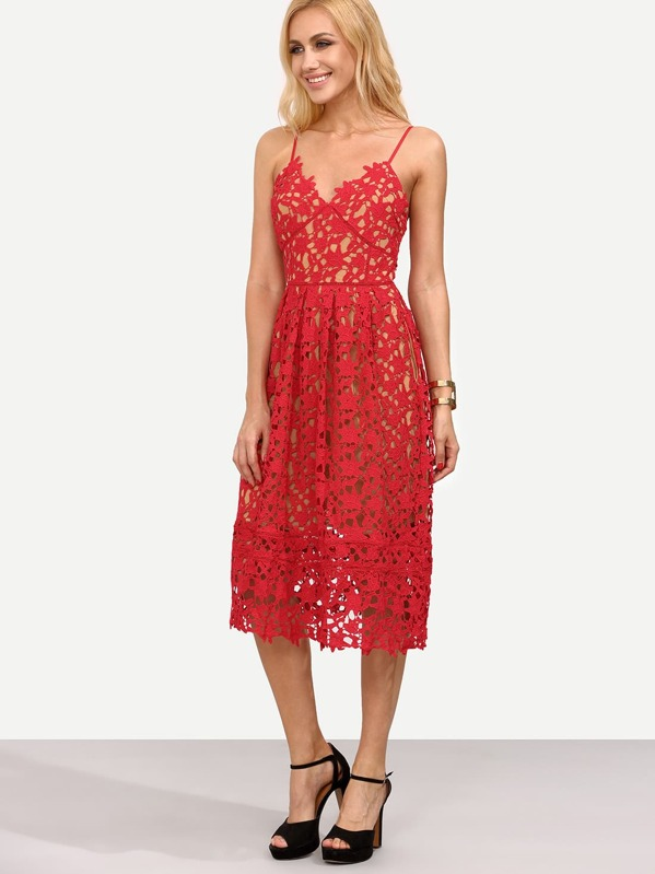 e40752bc3b Hollow Out Fit & Flare Lace Cami Dress | SHEIN IN