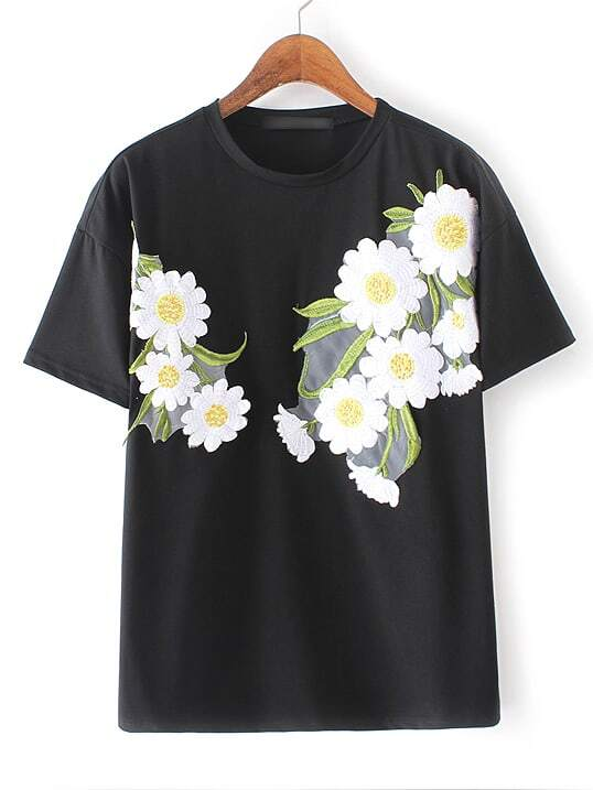 f3ffac7a3 Cheap Black Round Neck Flower Embroidery T-shirt for sale Australia ...