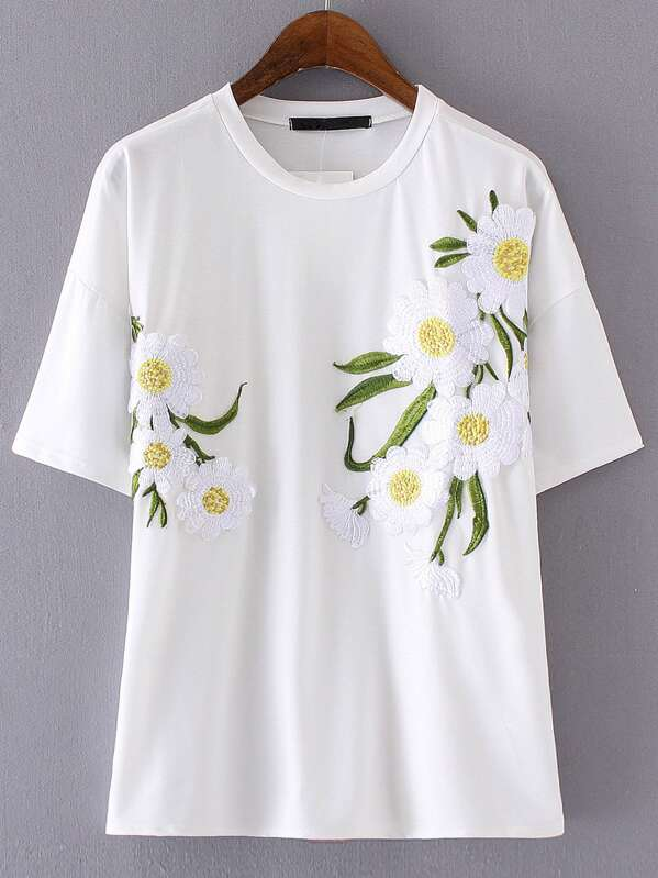 fb1c6ace5 White Round Neck Flower Embroidery T-shirt -SheIn(Sheinside)
