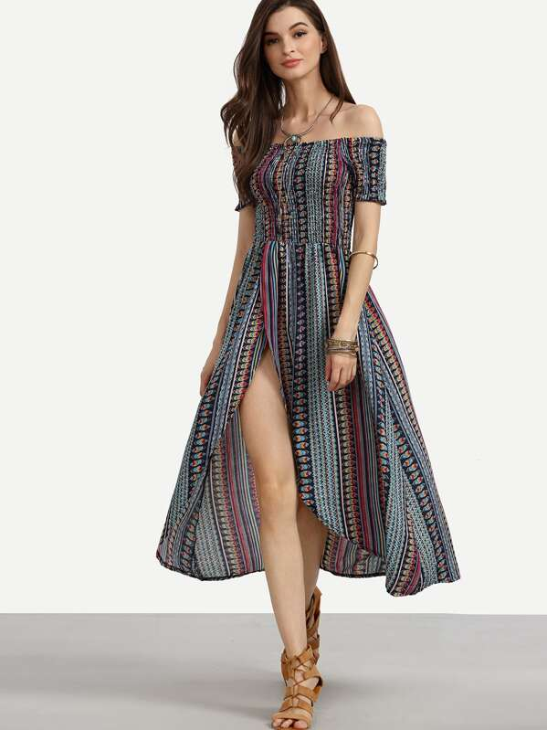 Robe épaule dénudée motif tribal - multicolore -French SheIn(Sheinside) ea6f686589b9