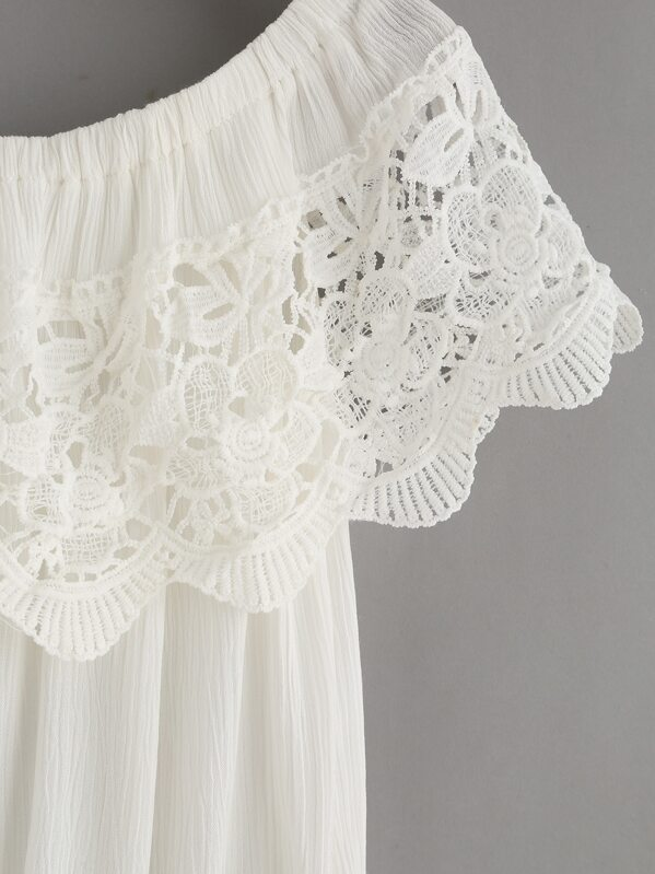 Top crochet hombro al aire -blanco-Spanish SheIn(Sheinside)
