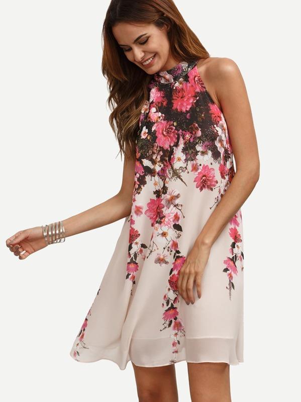 2e78642cec Floral Keyhole Back Swing Dress   SHEIN