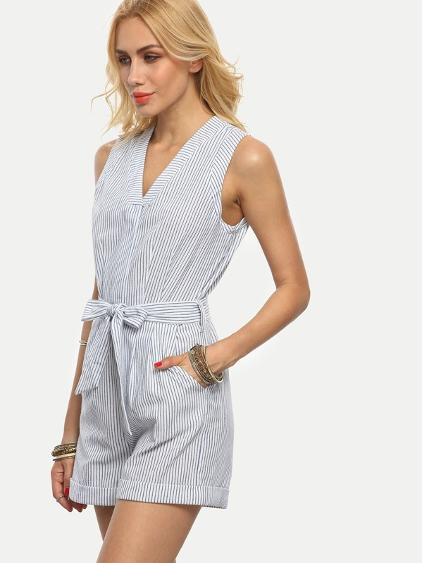 065ce541bdd Blue Striped Pocket Tie Waist V Neck Sleeveless Jumpsuit
