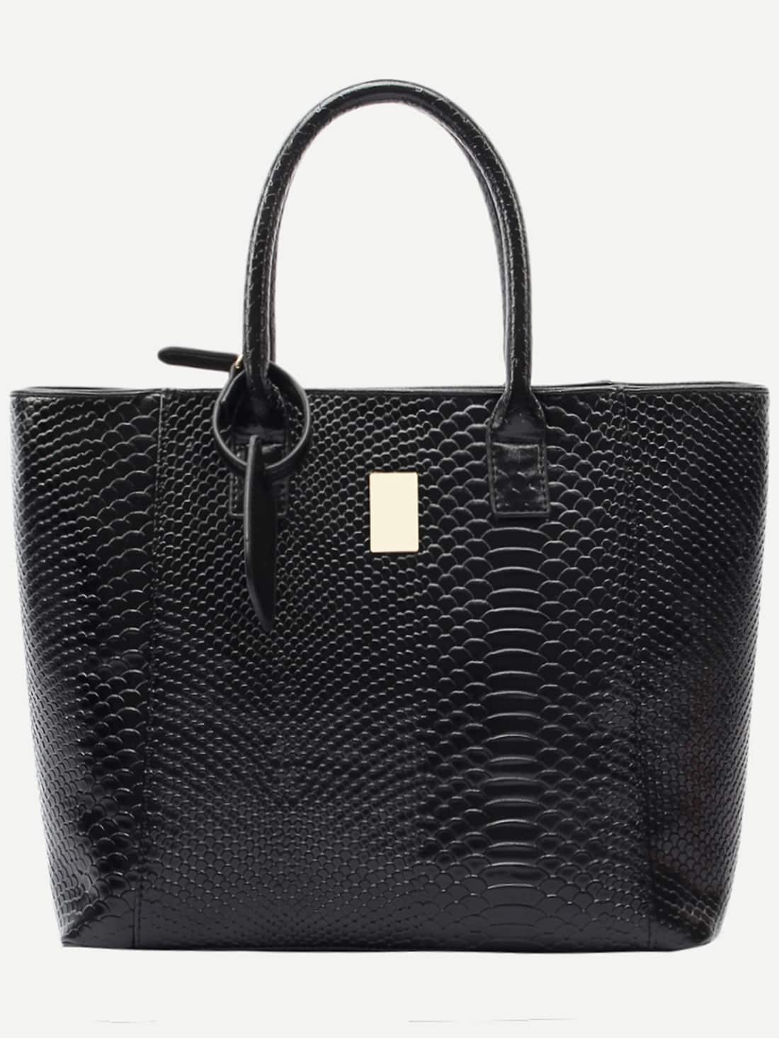 Black Crocodile Embossed Faux Leather Shopper Bag