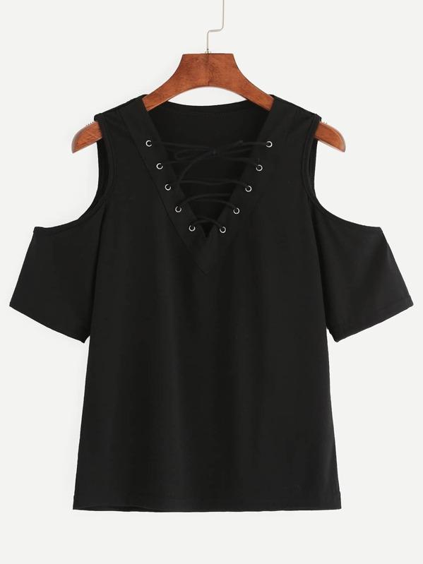 Black Lace Up Open Shoulder T-shirt -SheIn(Sheinside) fdb841377