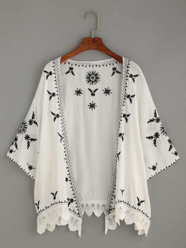 Kimono festoneado crochet bordado -blanco-Spanish SheIn(Sheinside)