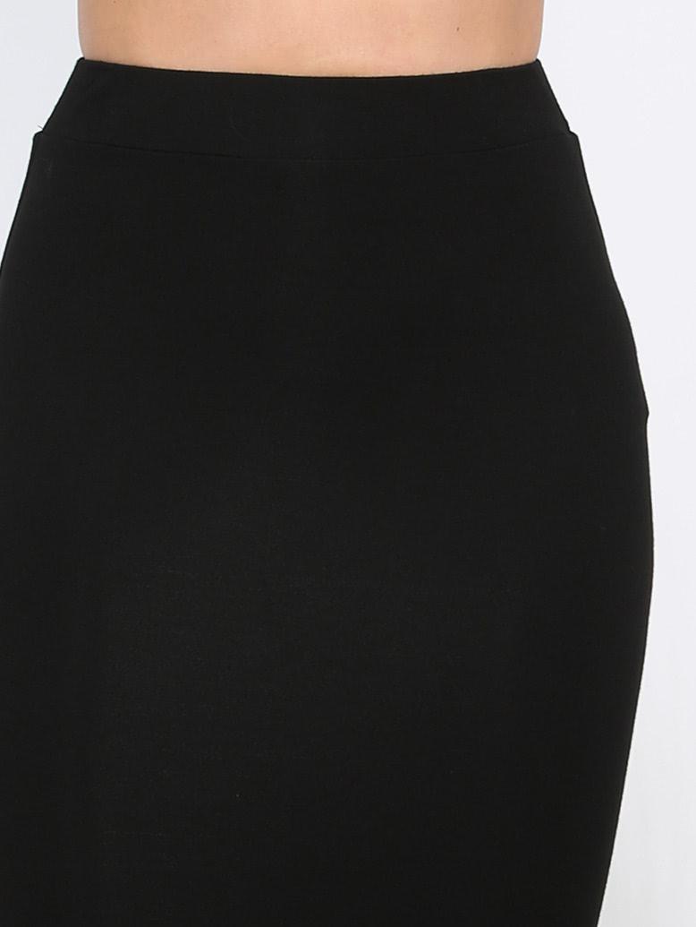 Black  Basic Sheath Midi Skirt
