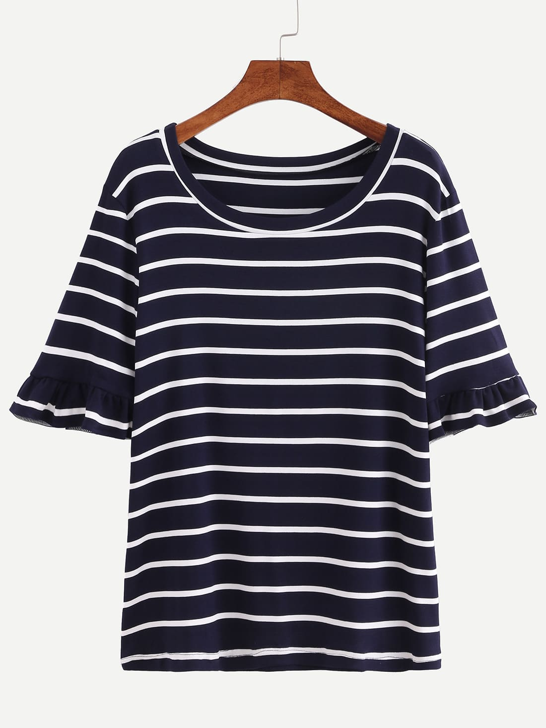 Navy striped ruffle sleeve t shirt shein sheinside for Frill sleeve t shirt