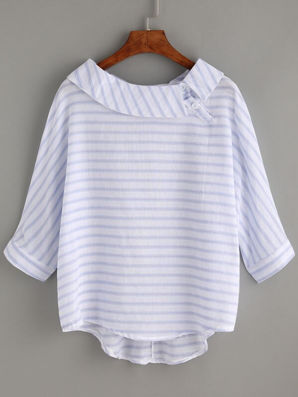 be11360e34c7d0 T-Shirt gestreift und hinten länger mit Knöpfen verziert | SHEIN