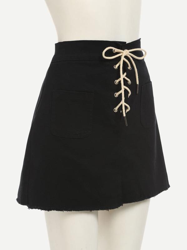 bc1d7b8c4c1 Jupe lacets avec poche - Noir