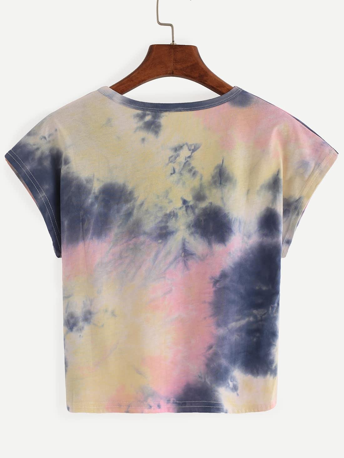 Color block tie dye t shirt shein sheinside for Types of tie dye shirts