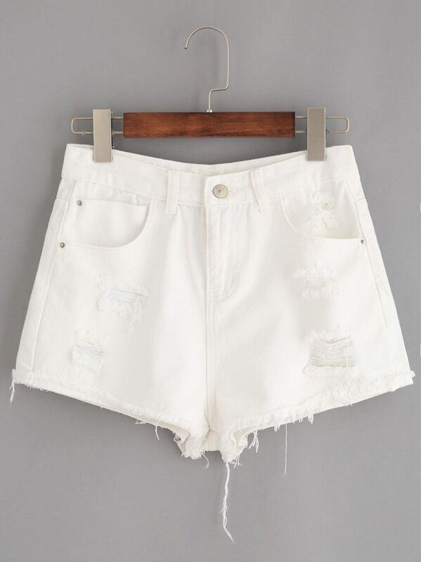 bad62a1ca3d White Ripped Raw Hem Denim Shorts