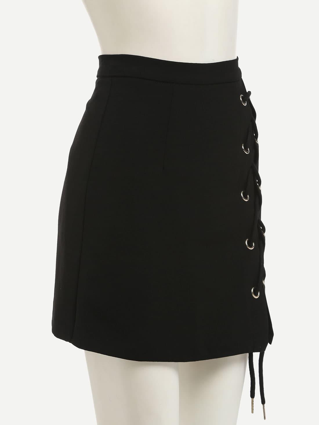 black eyelet lace up side pencil skirt shein sheinside