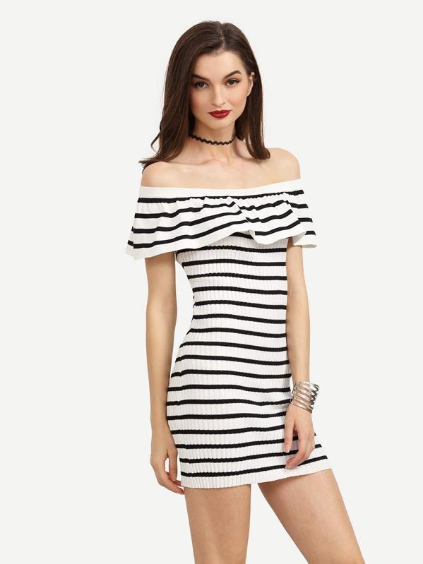 ec02fc9203 Black White Striped Ruffled Off The Shoulder Dress -SheIn(Sheinside)