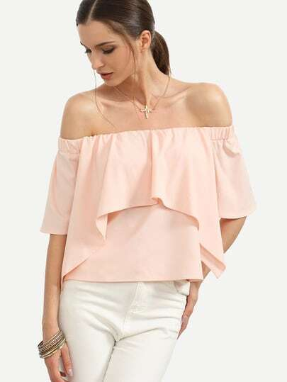 Pink Off The Shoulder Ruffle Blouse pictures
