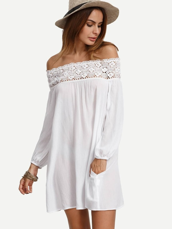 fd45415db7 Robe avec crochet épaule dénudée - blanc   SHEIN