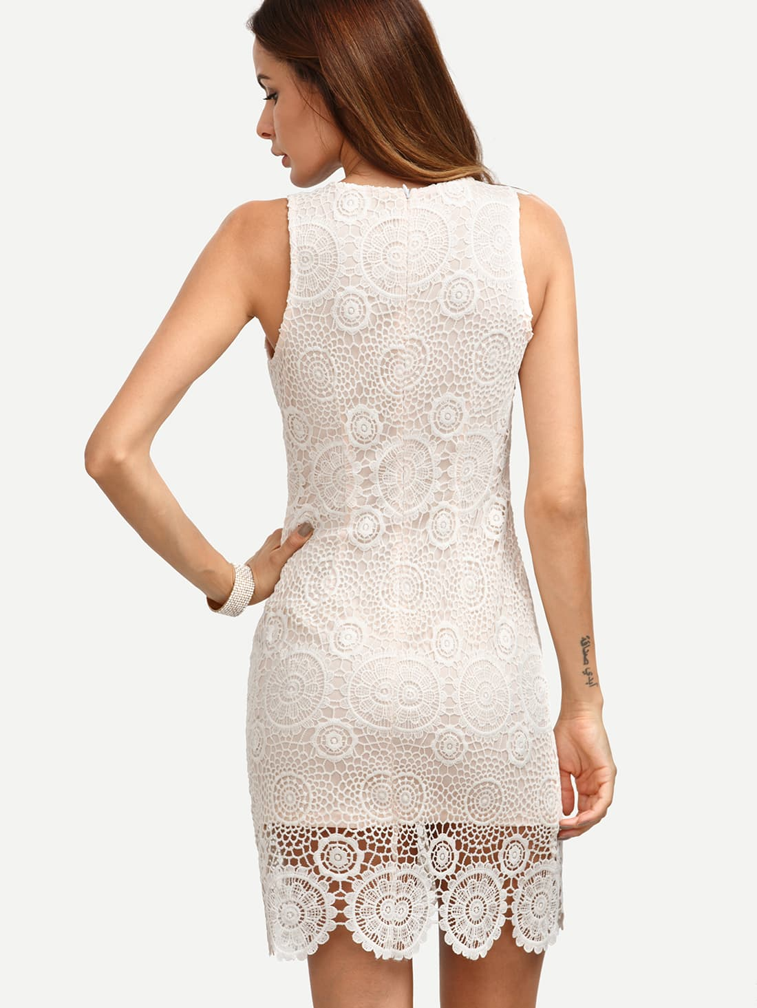 White Crochet Hem Bodycon Dress -SheIn(Sheinside)