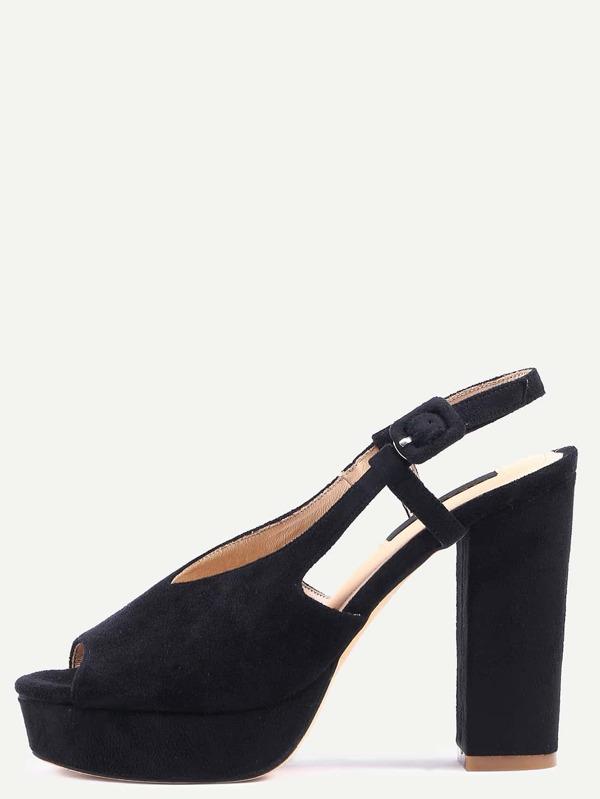 45ffaf76a4ba Black Open Toe Cutout Chunky Mule Pumps -SheIn(Sheinside)