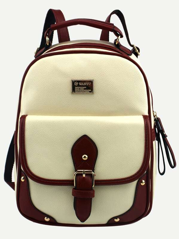 7d12e80605 Beige Contrast Trim Buckled Strap Backpack