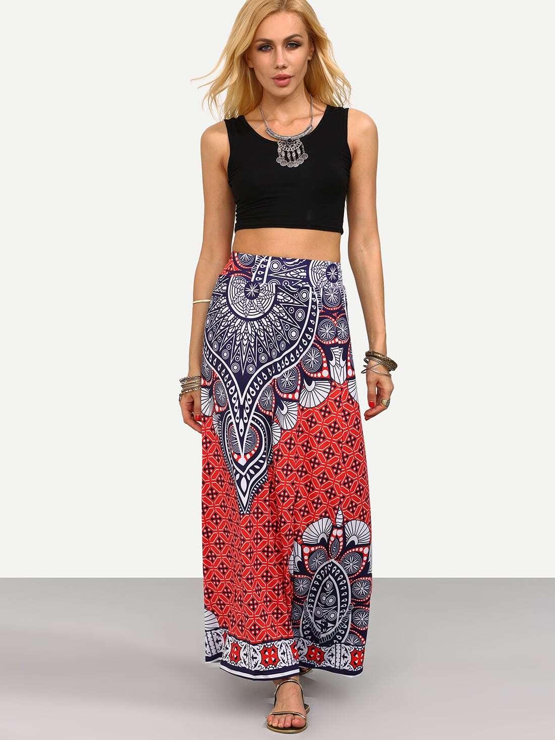 tribal print maxi skirt shein sheinside