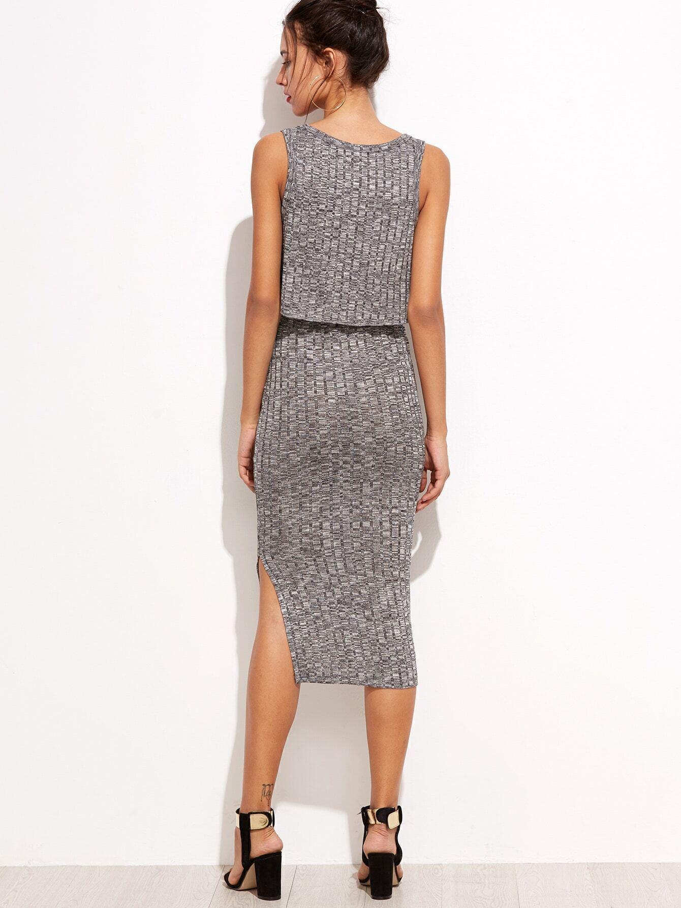 grey sleeveless top with split midi skirt shein sheinside