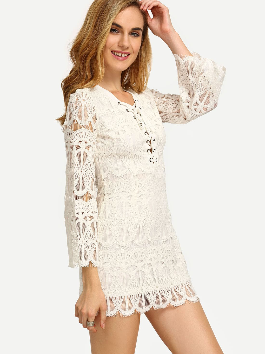 White Bell Sleeve Lace Up Front Lace Dress Shein Sheinside