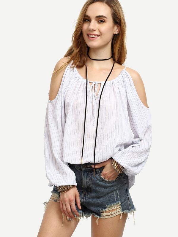 b4b26ea55692a White Striped Tie Cold Shoulder Long Sleeve Blouse -SheIn(Sheinside)