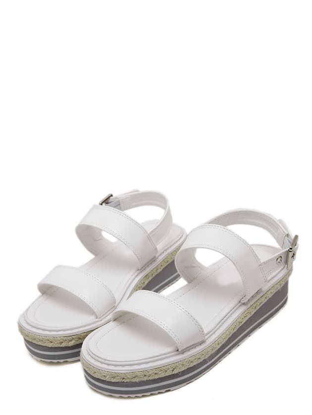 keilabsatz sandalen mit dichter sohle wei shein. Black Bedroom Furniture Sets. Home Design Ideas