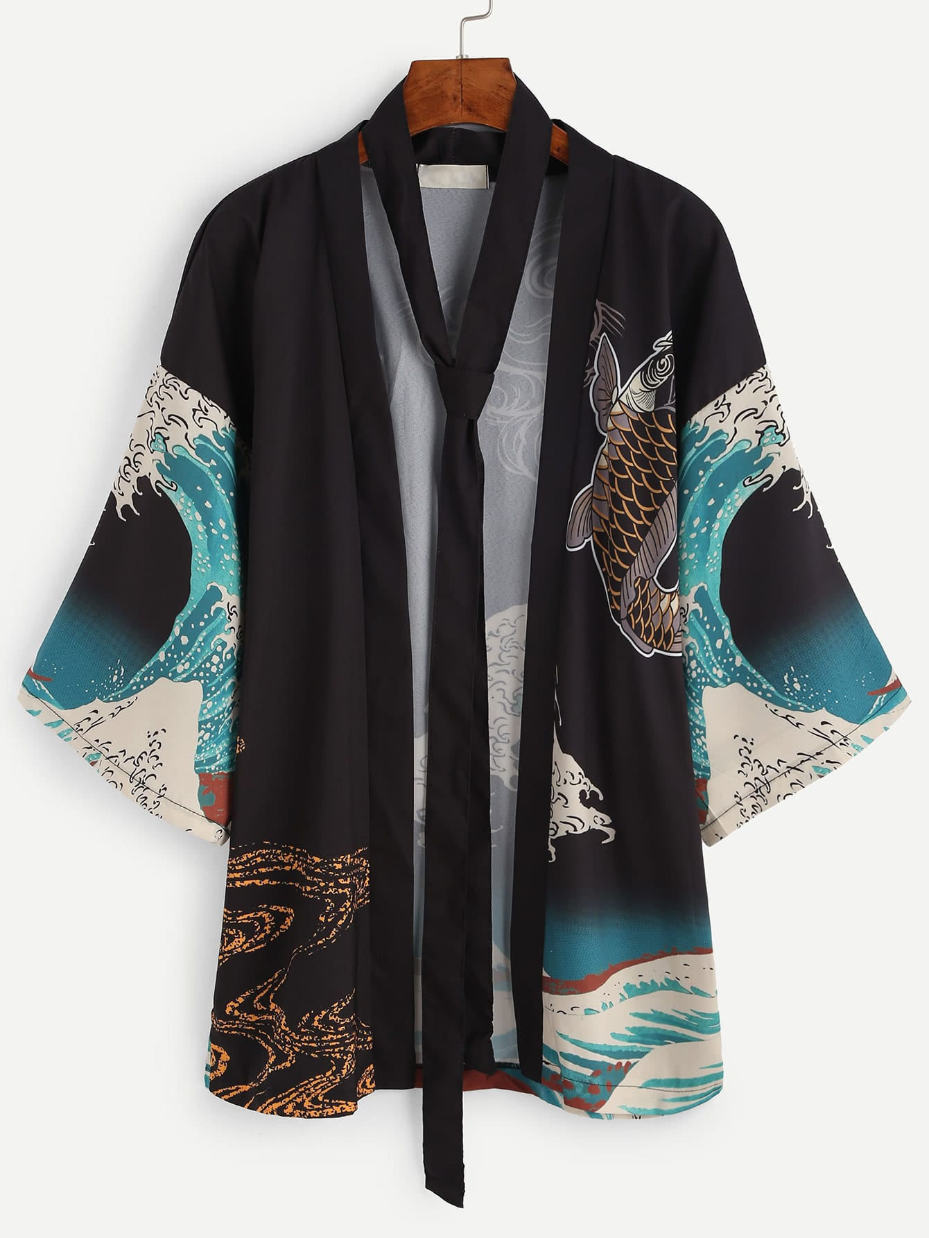 Spindrift And Carp Print Kimono With Belt Shein Sheinside