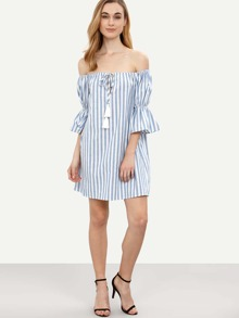 a46c28b6d8 Blue Striped Tassel Tie Front Off The Shoulder Dress | SHEIN UK