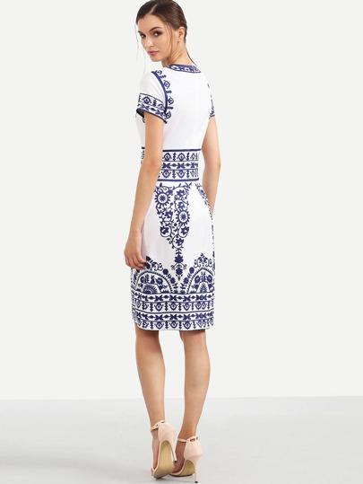 096fb59812 Vestido estampado manga corta entallado -azul blanco