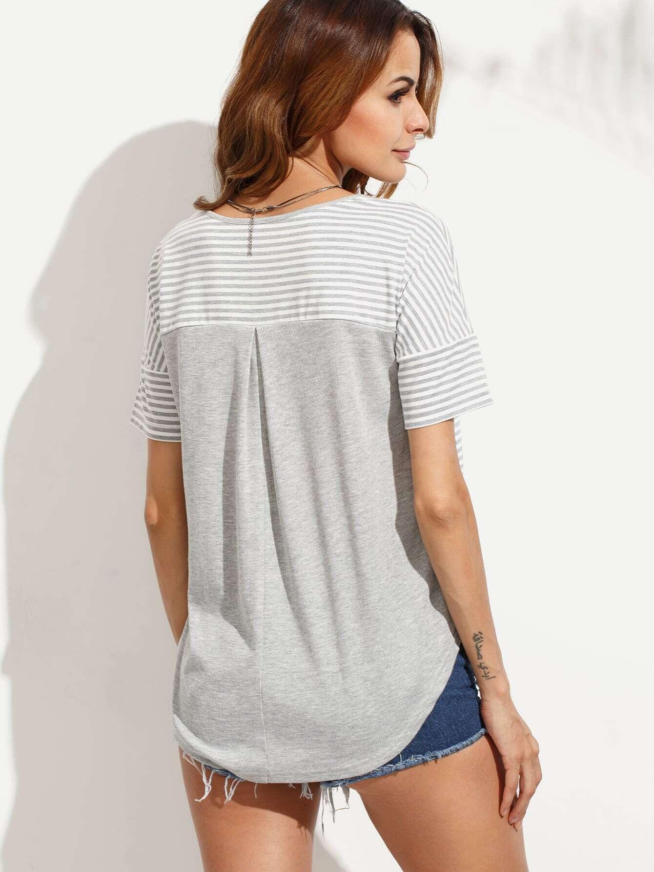 Grey striped pocket short sleeve t shirt shein sheinside Grey striped t shirt