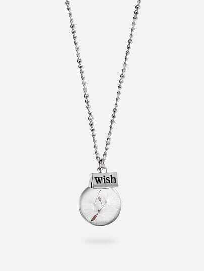 Dandelion glass globe pendant necklace sheinsheinside alt aloadofball Choice Image