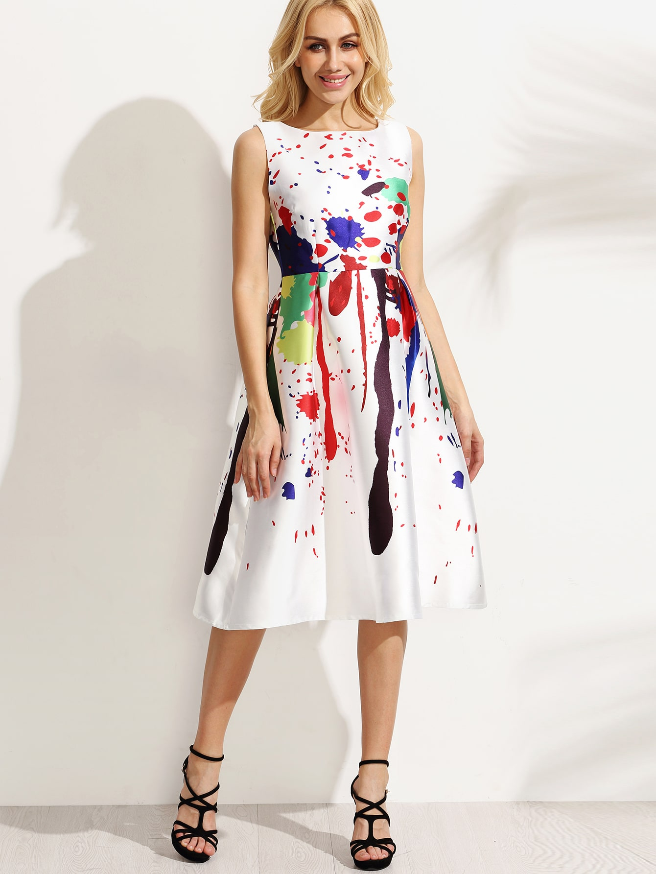 White Paint Splatter Print Fit and Flare Dress -SheIn ...