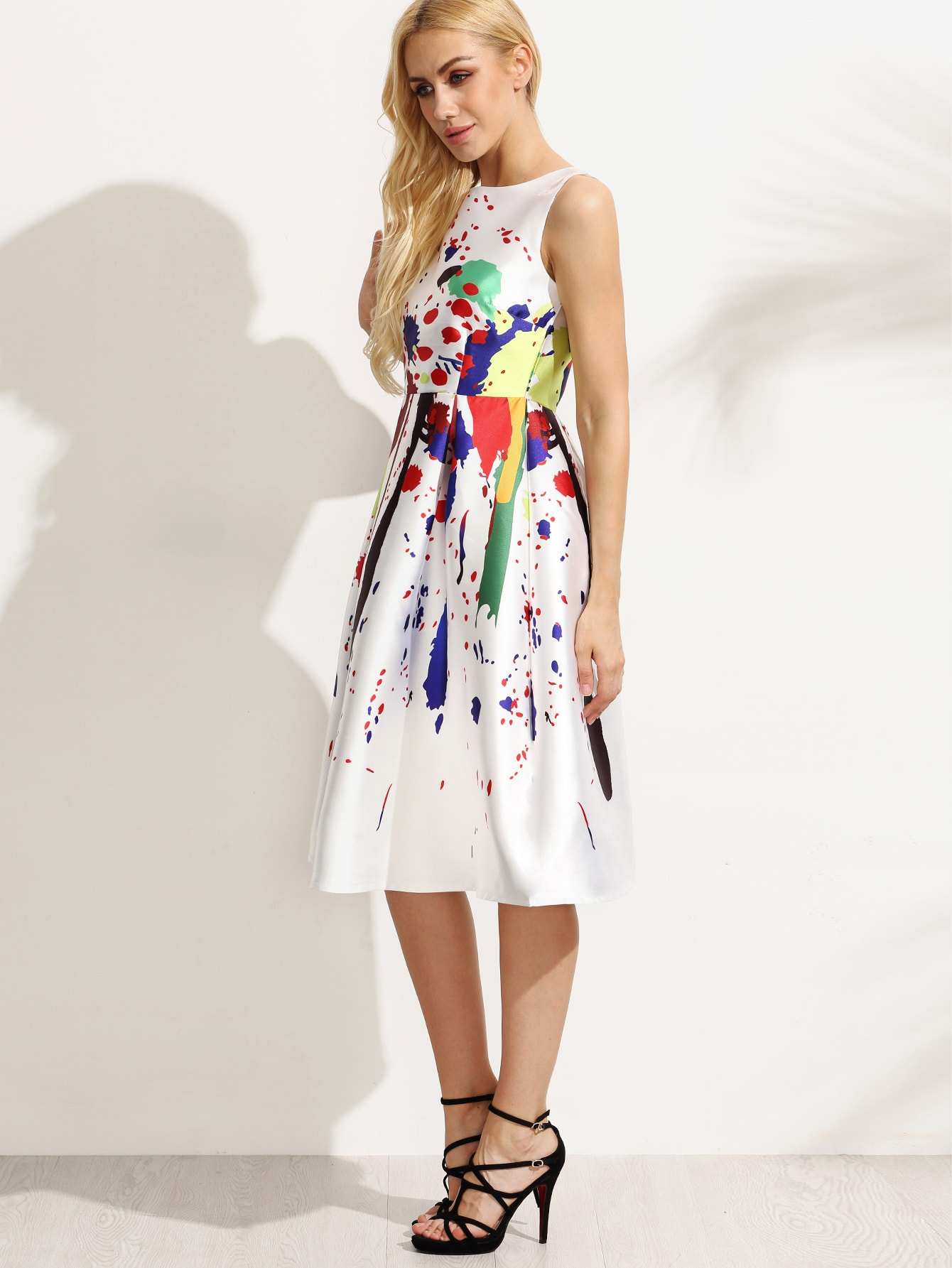 White Paint Splatter Print Fit And Flare Dress Shein