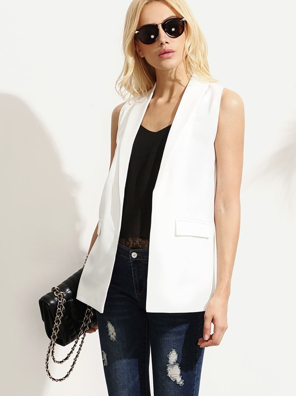 Shawl Lapel Sleeveless Open Front Blazer, White, Maryna