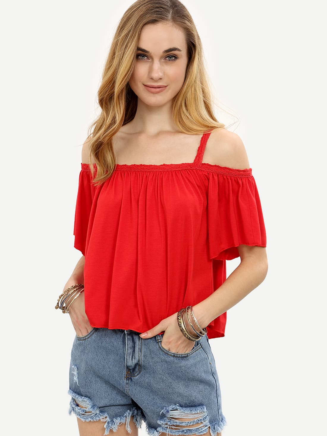 Red Lace Trim Cold Shoulder Top | SHEIN