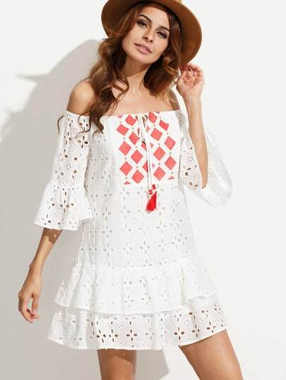 2396de0b8b8b White Embroidered Tassel Tie Off The Shoulder Dress - SheIn.com