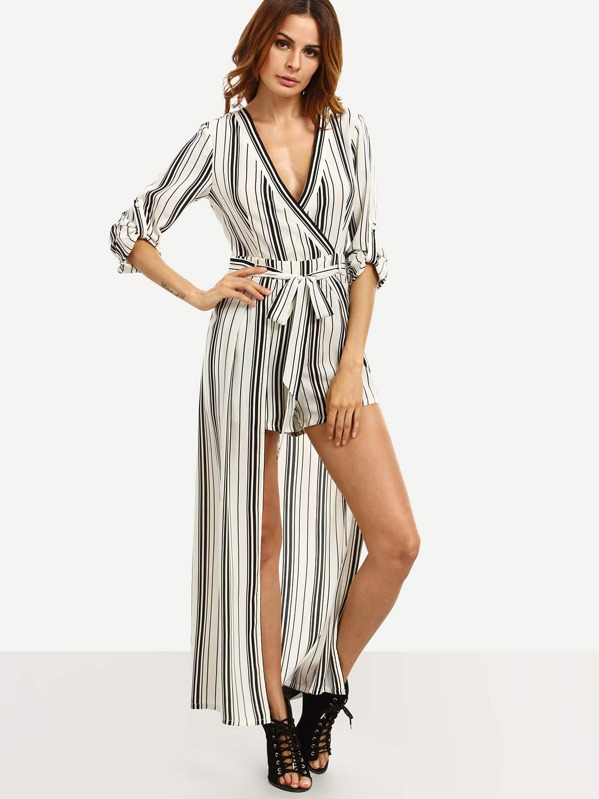 80200d308aa Black and White Striped Tie Waist V Neck Jumpsuit