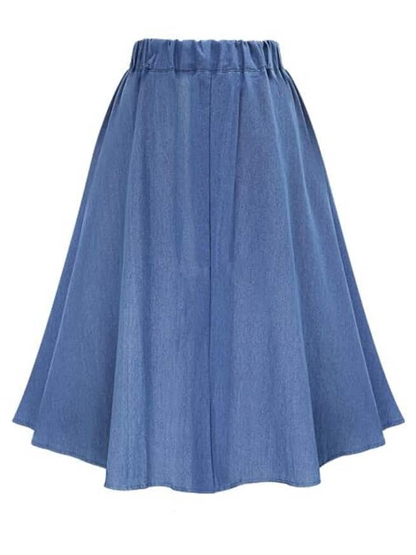 7bcf04e089 Elastic Waist Denim Tea Skirt With Buttons | SHEIN