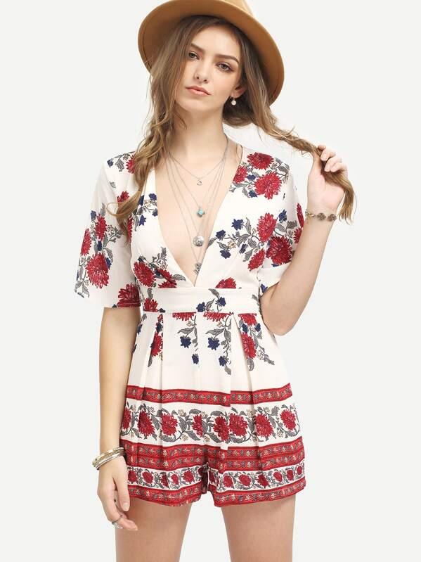 hot sale online 725be f46ef Halbarm Overall mit Blumenmuster und tiefem V-Ausschnitt