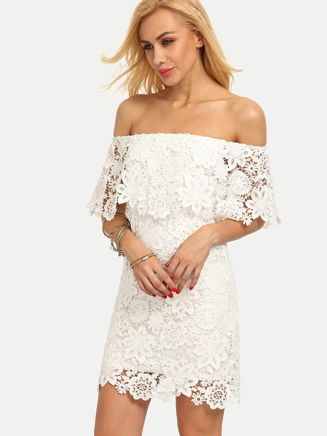 White Off The Shoulder Backless Bodycon Dress -SheIn(Sheinside)
